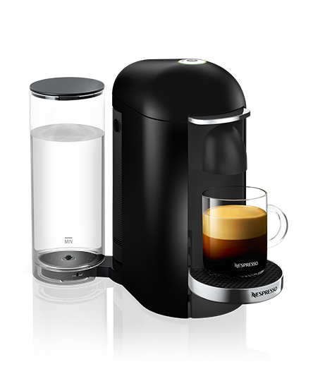 Nespresso VertuoLine machine with cup of coffee.