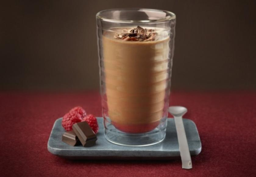Iced chocolate coffee with raspberry