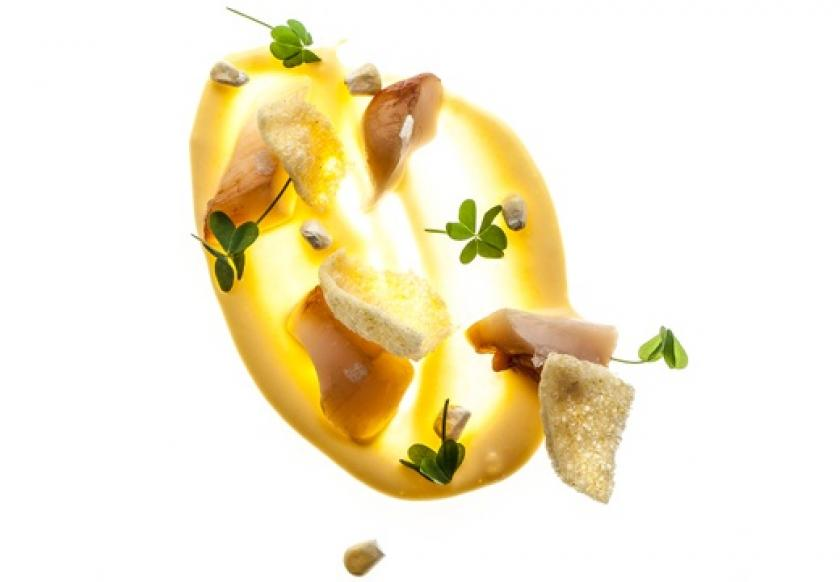 Scallop Tartare, Corn and Coffee Cream