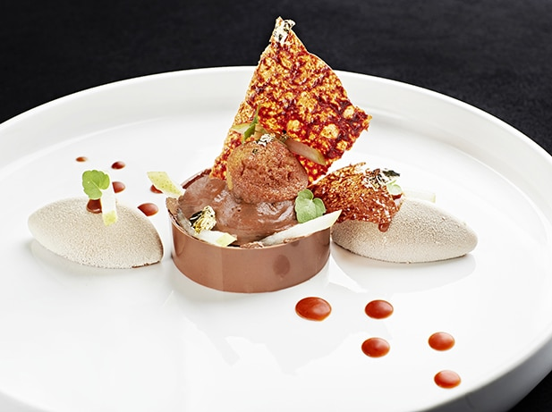 Chocolate légèreté, cream pudding with Fortissio Lungo